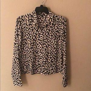 Slim Fit Cropped Leopard Portofino Shirt
